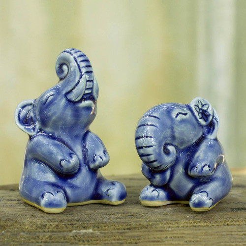 Hand Crafted Celadon Ceramic Sculptures (Pair) 'Happy Blue Elephants'