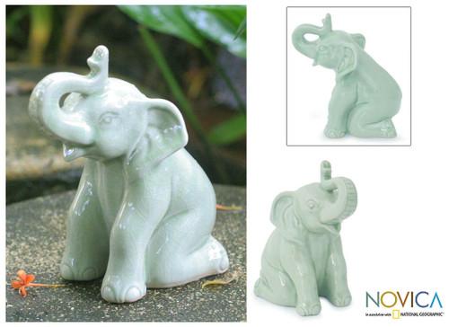 Celadon Ceramic Figurine 'Green Elephant Welcome'
