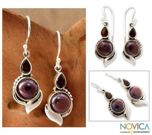 Handcrafted Sterling Silver Garnet and Pearl Earrings 'Modern Romance'