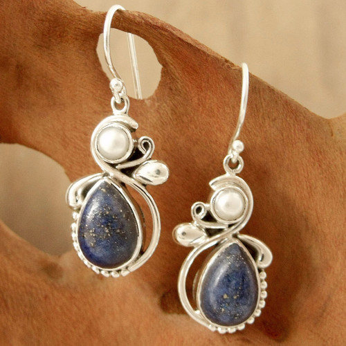 Women's Lapis Lazuli Pearl and Sterling Silver Earrings 'Blue Midnight'