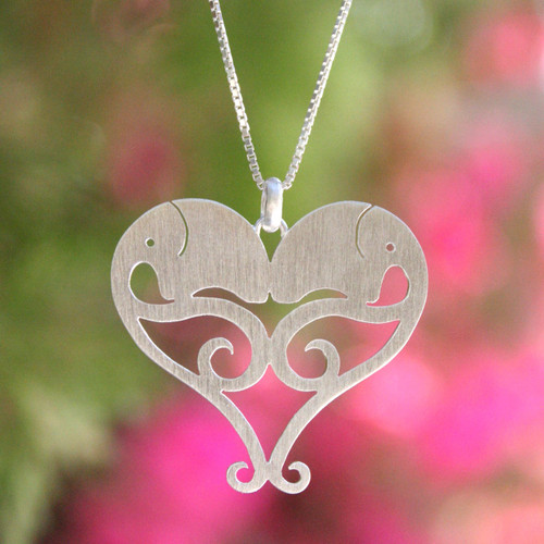 Hand Made Sterling Silver Pendant Necklace 'Elephant Sweethearts'
