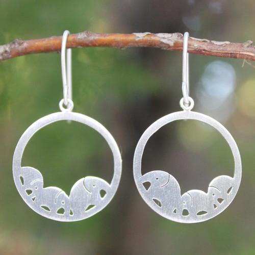 Sterling Silver Dangle Earrings 'Elephant Journeys'