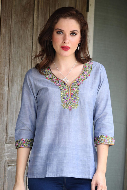 Women's Handwoven Cotton Tunic Top 'Gray Floral'