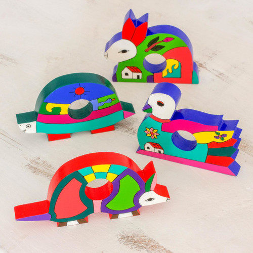Fair Trade Wood Napkin Rings (Set of 4) 'Happy Animals'
