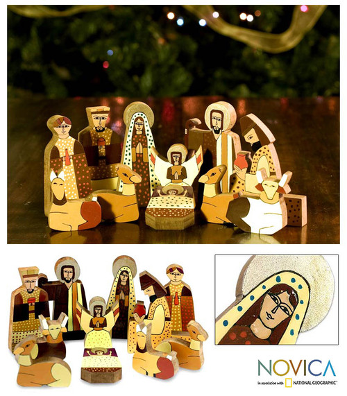 Christianity Wood Nativity Scene Sculpture (11 Pieces) 'Christmas Gift'