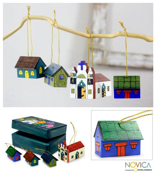 Handmade Christmas Wood Ornaments (Set of 4) 'Village'