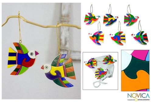 Pinewood ornaments (Set of 6) 'Songbird'