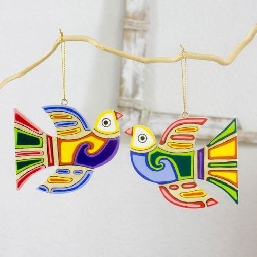 Pinewood ornaments (Set of 6) 'Skybird'