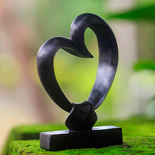Romantic Wood Sculpture from Indonesia 'Bonds of the Heart'