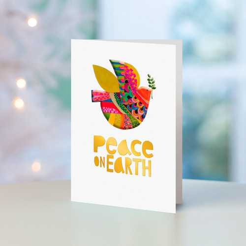 Set of 12 UNICEF Multicolor Dove Holiday Greeting Cards 'Peace on Earth'