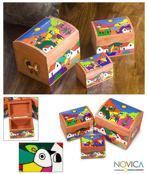 Wood Bird Decorative Box (Set of 3) 'Animal Friends'