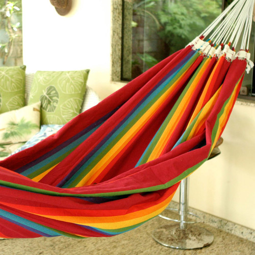 Handmade Striped Cotton Hammock (Double) 'Iracema Rainbow'