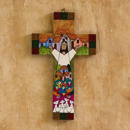 Handmade Guatemalan Religious Wood Cross 'Community of Love'