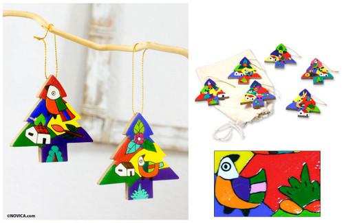 Pinewood ornaments (Set of 6) 'Christmas Trees'