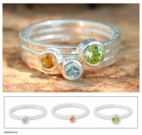 Peridot and Citrine Stacking Rings (Set of 3) 'Spring Rainbow'