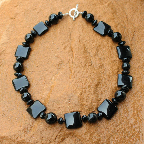 Beaded Onyx Necklace from Thailand 'Black Lily'