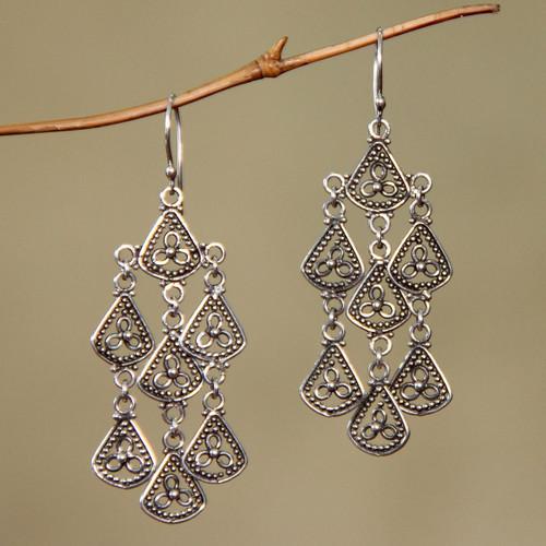 Sterling Silver Chandelier Earrings 'Bali Belle'