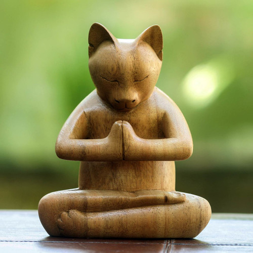 Carved Suar Wood Sculpture 'Kitty Cat Prayer'