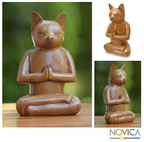 Wood Cat Sculpture from Indonesia 'Cat in Deep Meditation'