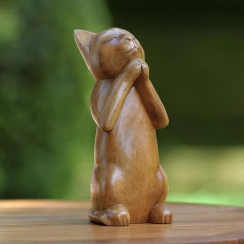 Handcrafted Prayer Sculpture 'Wishing Cat'