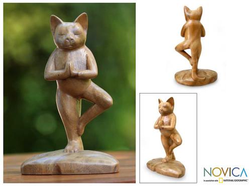 Original Wood Statuette  'Tree Pose Yoga Cat'