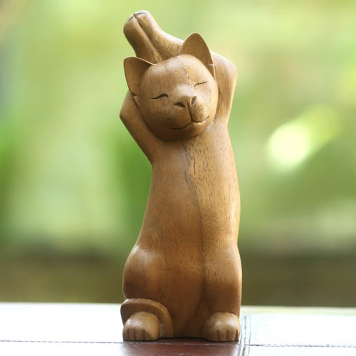 Handcrafted Wood Cat Sculpture 'Kitty Cat Stretch'