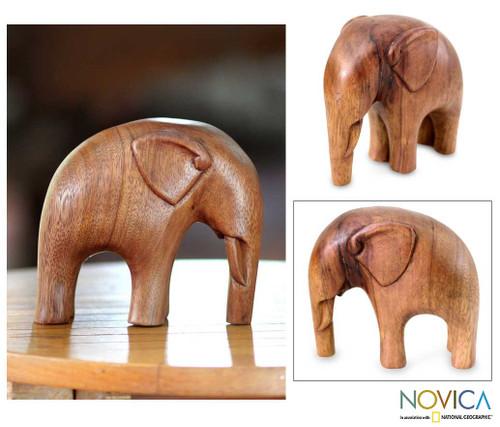 Artisan Crafted Wood Sculpture 'Modern Elephant'