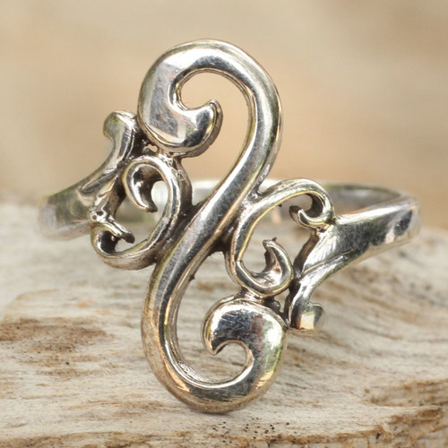 Sterling Silver Band Ring 'Arabesque Curl'
