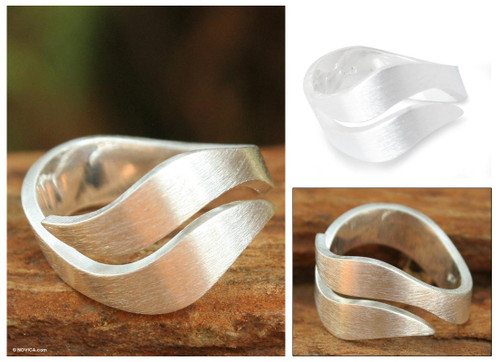 Hand Made Modern Sterling Silver Band Ring 'Phuket Dreams'