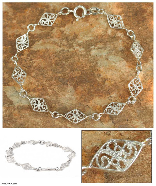 Fair Trade Sterling Silver Link Bracelet 'Filigree Diamonds'