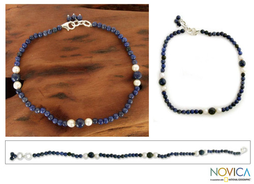 Lapis lazuli and pearl beaded anklet 'Mystic Truth'