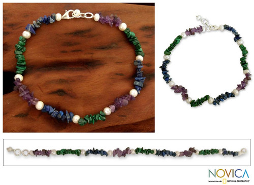Pearl and amethyst beaded anklet 'Mystic Meadow'