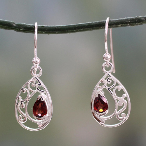 Earrings with Garnet and Sterling Silver Handmade in India 'Lace Halo'