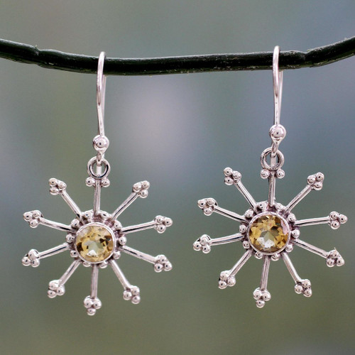 Sterling Silver Dangle Earrings with Citrine 'Sunshine Daze'