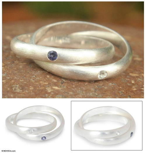 Fair Trade Sterling Silver and Iolite Ring 'Creation'