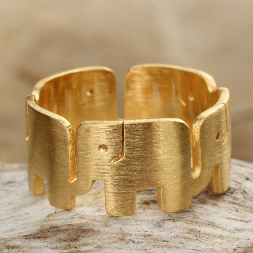 Unique Gold Plated Band Ring 'Elephant Pride'