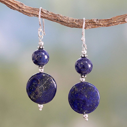 Lapis Lazuli Dangle Earrings from India 'Bihar Moons'