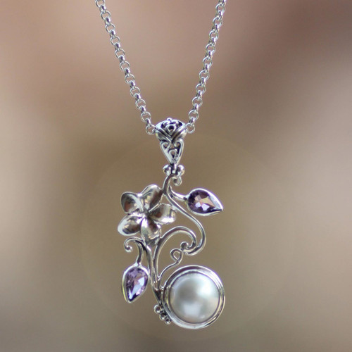 Floral Sterling Silver Amethyst and Pearl Pendant Necklace 'Bali Garden'