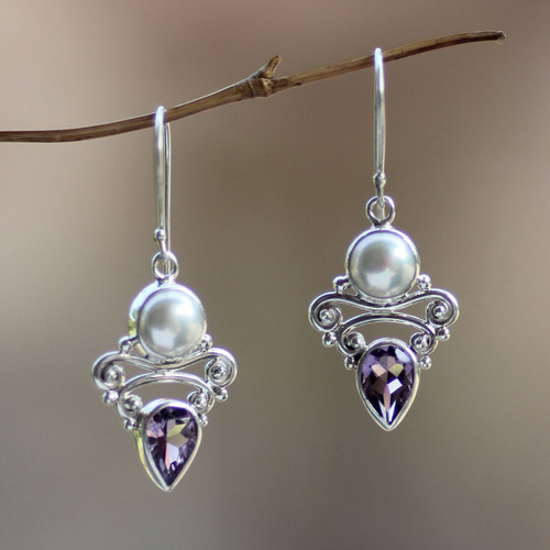 Amethyst and Pearl Dangle Earrings 'Guardian Moon'