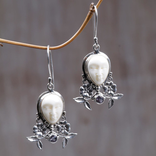 Amethyst and Cow Bone Floral Earrings 'Mother Earth Sleeps'