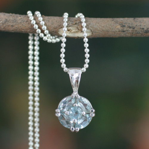 Blue Topaz Pendant in Women's Sterling Silver Necklace 'Jaipur Star'