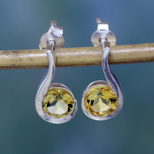 Women's Citrine Earrings Sterling Silver Jewelry from India 'Golden Droplet'