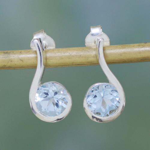 Blue Topaz Earrings in Sterling Silver Modern Jewelry 'Sky Droplet'
