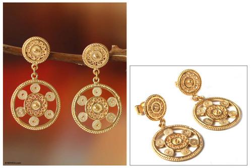 Gold Plated Filigree Dangle Earrings 'Wheel of Life'