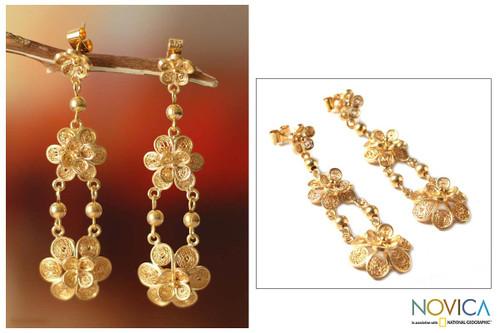 Floral 21K Gold Vermeil Filigree Dangle Earrings 'Garlands'