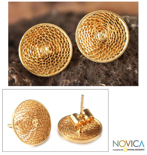 Handcrafted Gold Plated Button Earrings 'Starlit Sun'