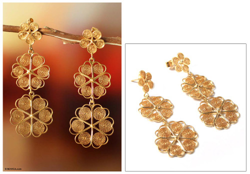 Fair Trade Floral Gold Plated Earrings 'Flower Shower'