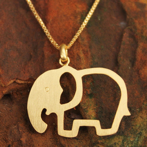 Gold plated pendant necklace 'Sunlit Elephant'