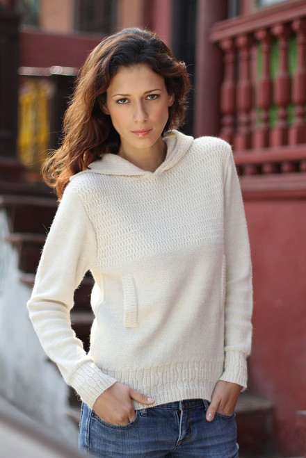 Handcrafted Alpaca Blend Hoodie Sweater 'Arequipa Winter'