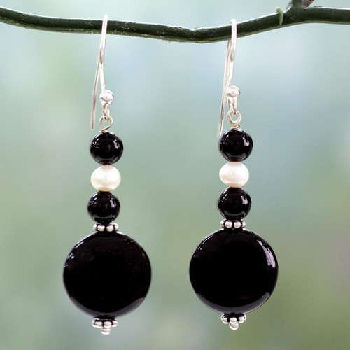 Onyx and pearl dangle earrings 'Midnight Kisses'